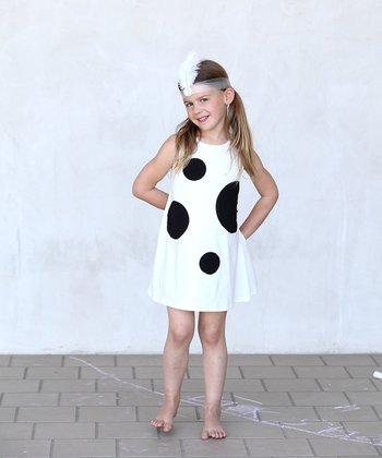 Ivory & Black Mod Swing Dress - Toddler & Girls
