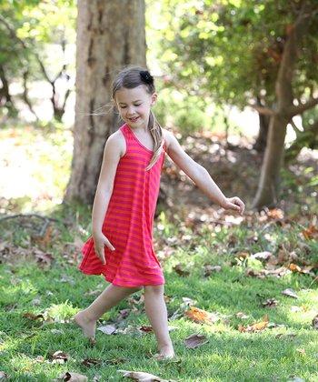 Pink & Orange Stripe Twirl Dress - Girls