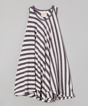 Gray & White Stripe Twirl Dress - Girls