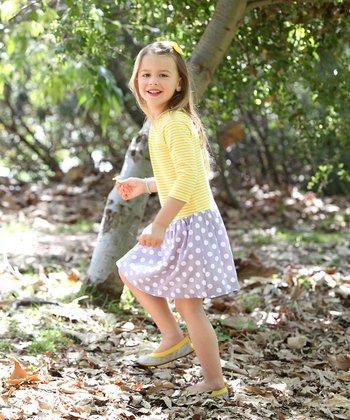 Yellow & Gray Polka Dot Emily Dress - Toddler & Girls