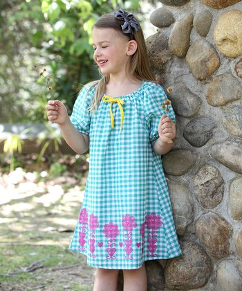 Green & Pink Gingham Ella Dress - Toddler & Girls