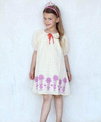 Yellow & Purple Gingham Ella Dress - Toddler & Girls