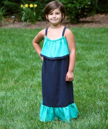 Blue & Teal Color Block Maxi Dress - Girls