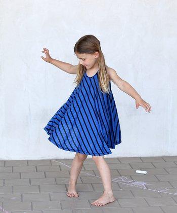 Blue & Black Stripe Twirl Dress - Girls