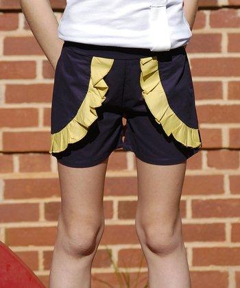 Navy & Yellow Ruffle Shorts - Toddler & Girls