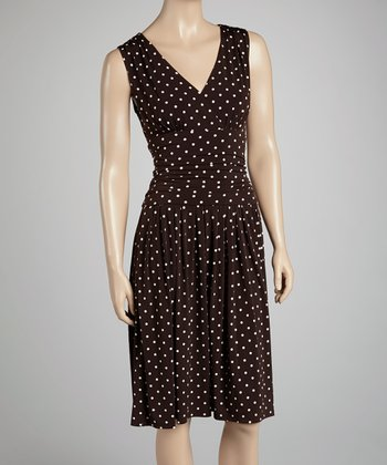 Brown Polka Dot Surplice Dress - Women