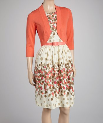 Coral Belted Dress & Open Cardigan - Women