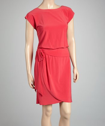 Watermelon Cap-Sleeve Wrap Dress