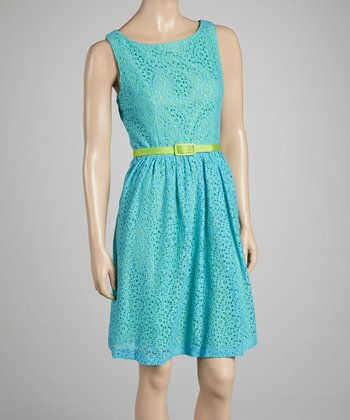 Turquoise & Green Lace Belted Dress