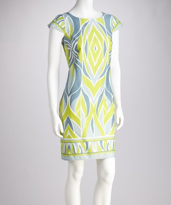 Lime & Gray Shift Dress
