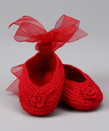 Red Rose Crochet Booties