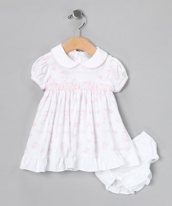 Pink Garden Smocked Dress & Diaper Cover - Infant