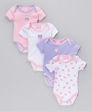 Pink & Lilac Bunny Bodysuit Set - Infant