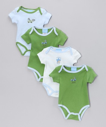 Baby Blue & Green Bodysuit Set - Infant