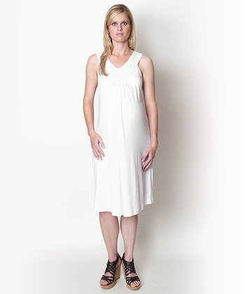 White Tyra Maternity Dress