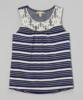 Navy Stripe Lace Tank