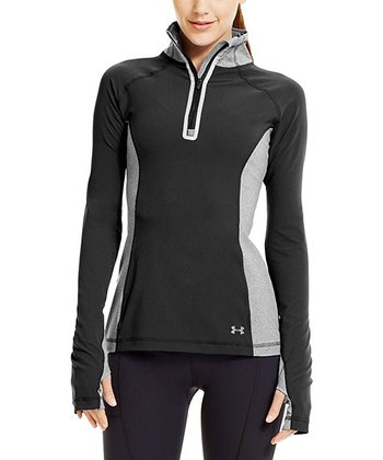 Black Stretch Woven Half-Zip Pullover