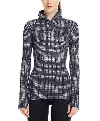 Black Cozy Printed Half-Zip Pullover