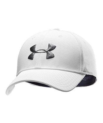 White Basic Golf Stretch Fit Cap