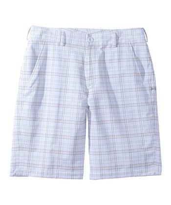 White Performance Plaid Shorts - Men