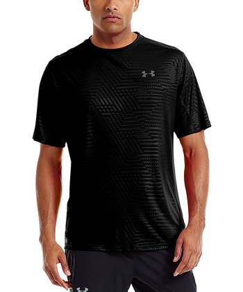 Black HeatGear® Flyweight Run Printed Crewneck Top - Men