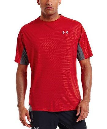 Red HeatGear® Flyweight Run Printed Crewneck Top - Men