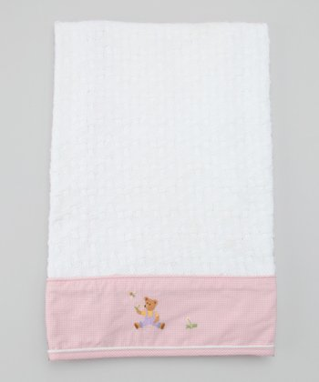 Pink Nursery Time Moses Basket Embroidered Blanket