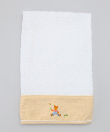 Yellow Nursery Time Moses Basket Embroidered Blanket