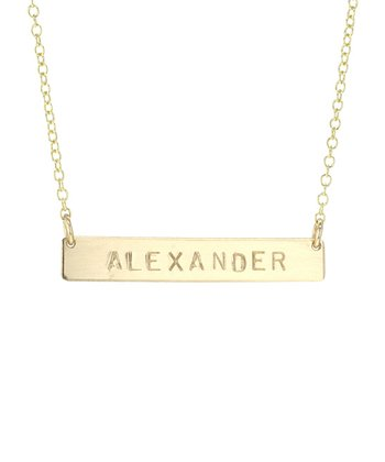 Gold Long Bar Personalized Necklace