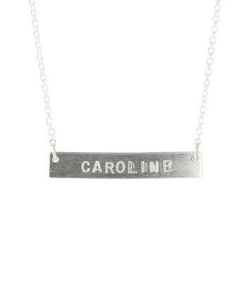Sterling Silver Long Bar Personalized Necklace