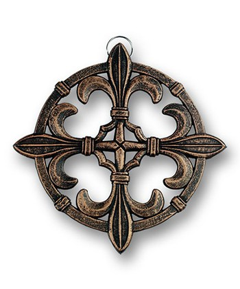 Antique Copper Fleur-de-Lis Cast Iron Trivet
