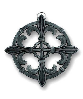 Antique Pewter Fleur-de-Lis Cast Iron Trivet