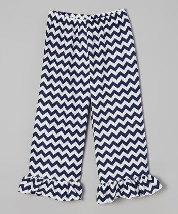 Navy Zigzag Ruffle Capri Pants - Infant, Toddler & Girls