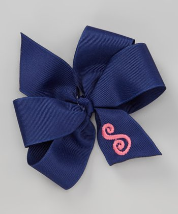 Navy & Pink Initial Bow Clip
