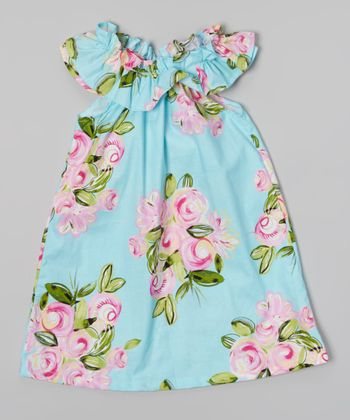 Aqua & Pink Floral Ruffle Neck Dress - Toddler & Girls
