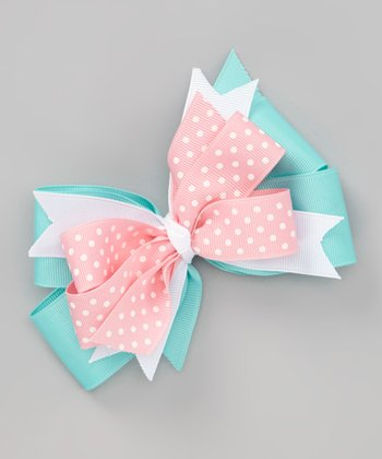 Aqua & Pink Polka Dot Bow Clip