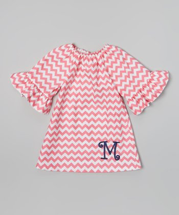 Pink & White Zigzag Dress - Toddler & Girls