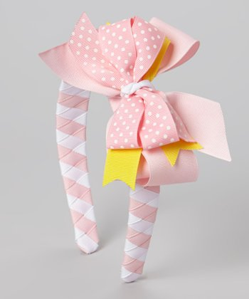Pink & Yellow Polka Dot Bow Headband