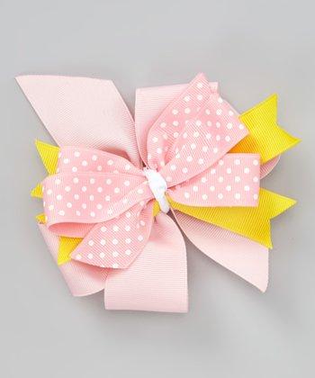 Pink & Yellow Polka Dot Bow Clip