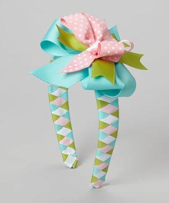 Aqua & Pink Bow Headband