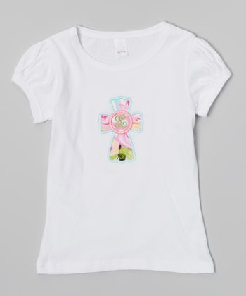 White Cross Initial Tee - Infant, Toddler & Girls
