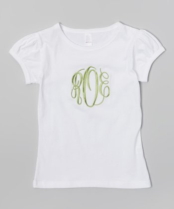 White & Green Monogram Tee - Infant, Toddler & Girls