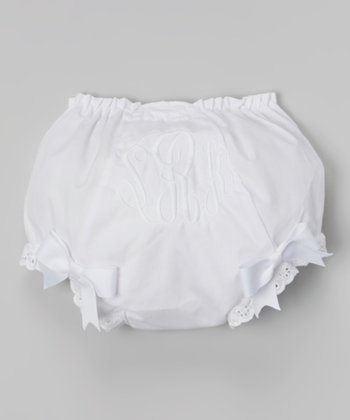 White Toes in the Sand Monogram Diaper Cover