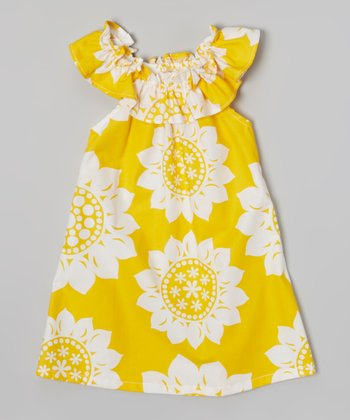 Yellow You Are My Sunshine Ruffle Neck Dress - Toddler & Girls