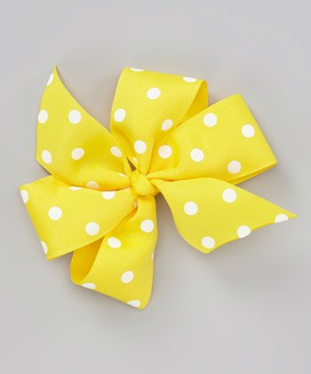 Yellow You Are My Sunshine Polka Dot Bow Clip