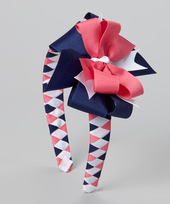 Pink & Navy Welcome Aboard Bow Headband
