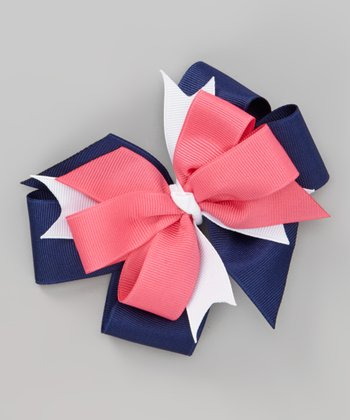 Pink & Navy Welcome Aboard Bow Clip