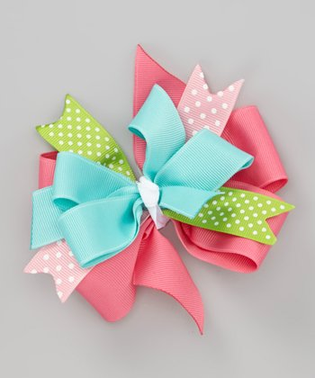 Pink & Aqua Tea Time Bow Clip