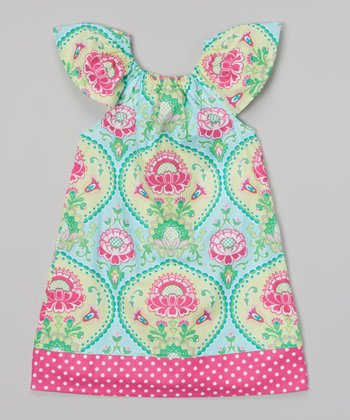 Aqua & Pink Flutter Sleeve Dress - Toddler & Girls