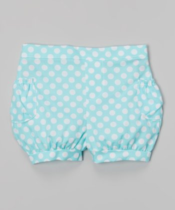 Aqua Polka Dot Bubble Shorts - Toddler & Girls